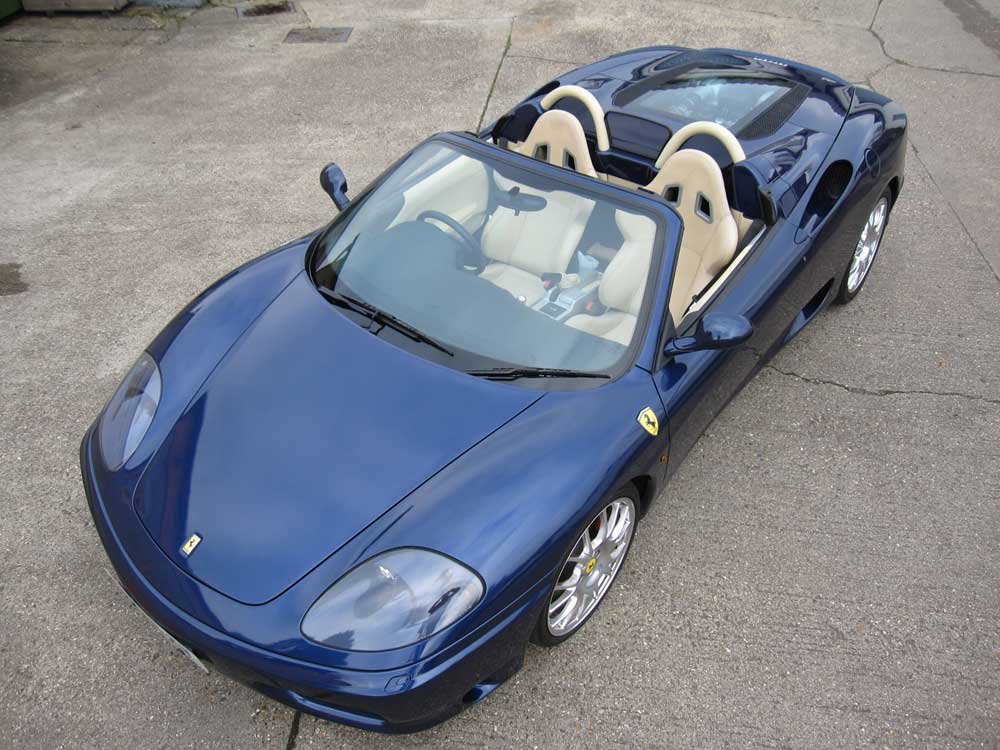 In the showroom now is the is 2002 Ferrari 360 Spider six-speed